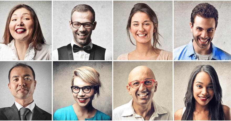 8 smilende mennesker - Slik lager du personas.