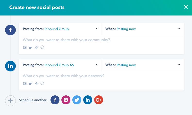 HubSpot: publisering sosiale medier