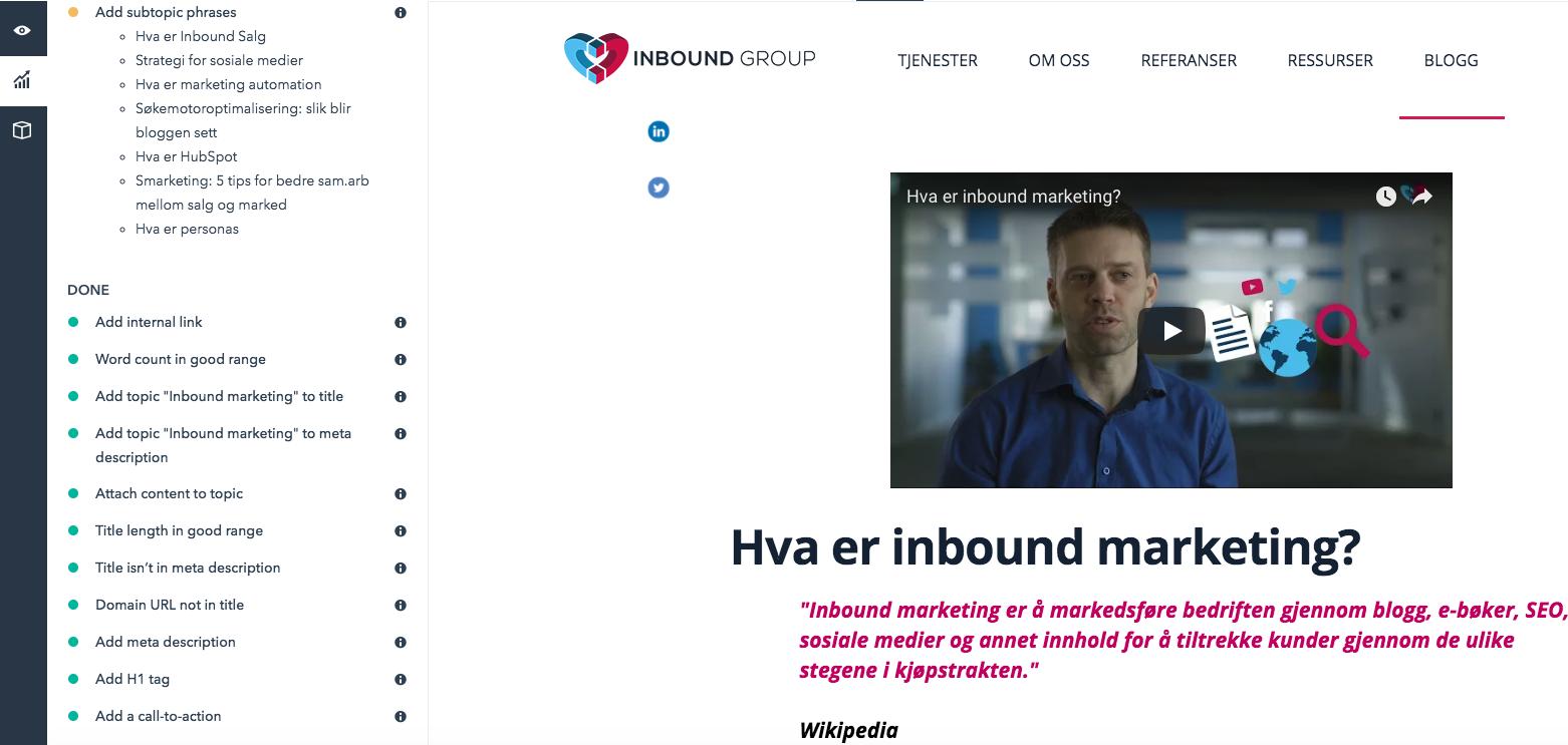 HubSpot: verktøy for søkemotoroptimalisering